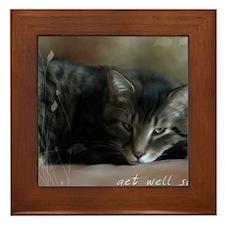 Cat Get Well Notecard Framed Tile