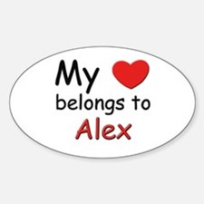 My heart belongs to alex Oval Decal