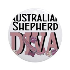 Australian_Shepherd_DIVA Round Ornament