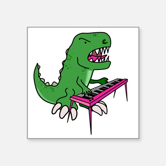 "t-rex piano t-shirt Square Sticker 3"" x 3"""