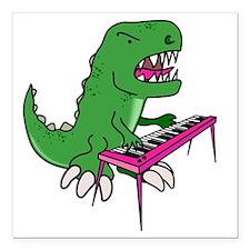 "t-rex piano t-shirt Square Car Magnet 3"" x 3"""
