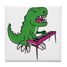 t-rex piano t-shirt Tile Coaster