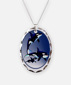 Killer Whale Family Oval Trans Necklace