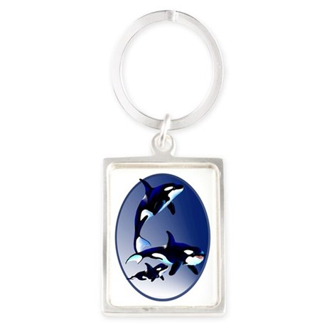 Killer Whale Family Oval Trans Portrait Keychain