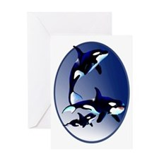 Killer Whale Family Oval Trans Greeting Card