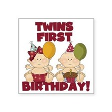 "Twin Boy and Girl 1st Birth Square Sticker 3"" x 3"""