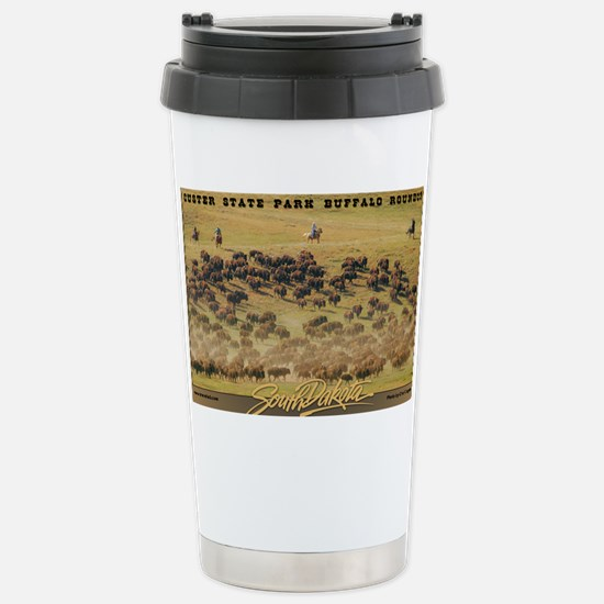 Buffalo Roundup poster Stainless Steel Travel Mug