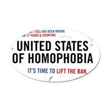 United States of Homophobia Oval Car Magnet
