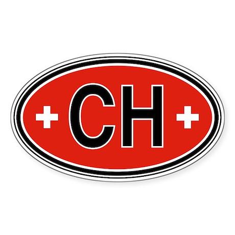 Switzerland Euro Oval Sticker