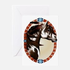 Feathered Paint Horse Oval Trans Greeting Card