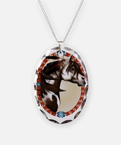 Feathered Paint Horse Oval Tra Necklace