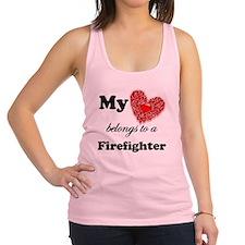 my heart fireman copy Racerback Tank Top