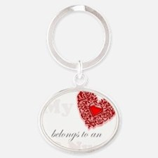 my heart er white Oval Keychain