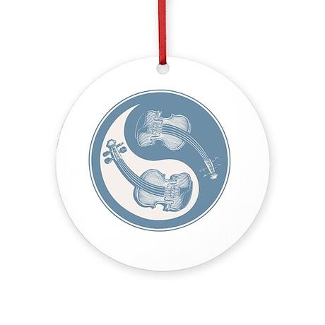 vioyin-yang-blu-T Round Ornament