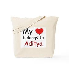 My heart belongs to aditya Tote Bag