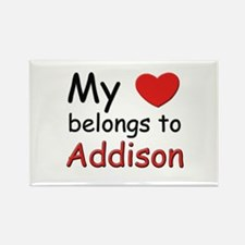 My heart belongs to addison Rectangle Magnet