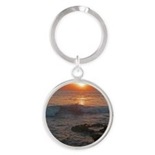 bali tana lot sunset Round Keychain