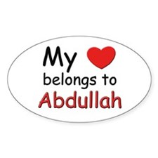 My heart belongs to abdullah Oval Decal