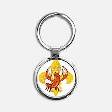 Crawfish Fleur De Lis tra Round Keychain
