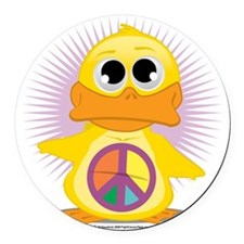 Peace-Sign-Duck Round Car Magnet