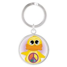 Peace-Sign-Duck Round Keychain