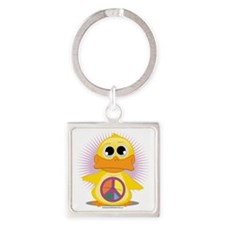 Peace-Sign-Duck Square Keychain