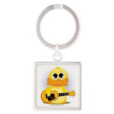 Guitar-Duck Square Keychain