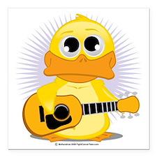 "Guitar-Duck Square Car Magnet 3"" x 3"""