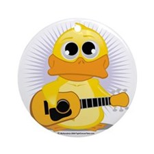 Guitar-Duck Round Ornament