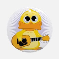 Guitar-Duck Round Ornament