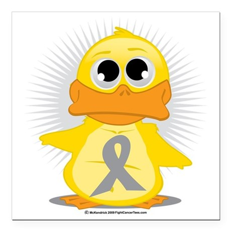 "Grey-Ribbon-Duck Square Car Magnet 3"" x 3"""