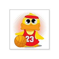 "Basketball-Duck Square Sticker 3"" x 3"""