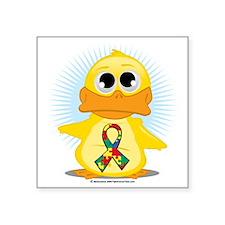 "Autism-Ribbon-Duck Square Sticker 3"" x 3"""