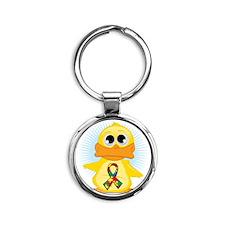 Autism-Ribbon-Duck Round Keychain