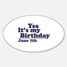 June 7 Birthday Oval Decal