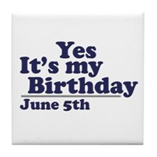 June 5 Birthday Tile Coaster