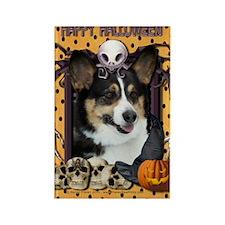 HalloweenNightmare_Corgi Rectangle Magnet