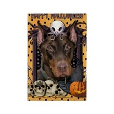 HalloweenNightmare_Doberman_Rocky Rectangle Magnet