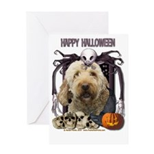 HalloweenNightmare_Goldendoodle Greeting Card