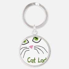 Cat Lady Cat Face Round Keychain