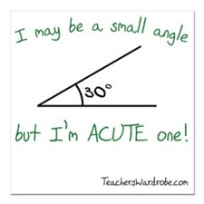 """I May Be a Small Angle Square Car Magnet 3"""" x 3"""""""