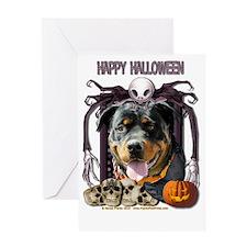 HalloweenNightmare_Rottweiler_SambaP Greeting Card