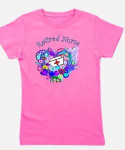 Retired Nurse Artsy Retro Heart Girl's Tee