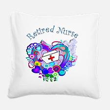 Retired Nurse Artsy Retro Hea Square Canvas Pillow