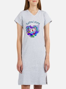 Retired Nurse Artsy Retro Heart Women's Nightshirt