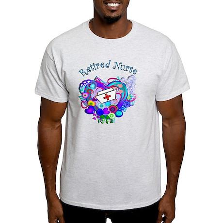 Retired Nurse Artsy Retro Heart Light T-Shirt