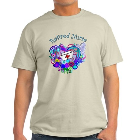Retired Nurse Artsy Retro Heart Light T-Shirt