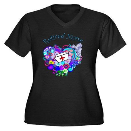 Retired Nurs Women's Plus Size Dark V-Neck T-Shirt