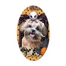 HalloweenNightmare_ShihPoo_Maggie Oval Car Magnet
