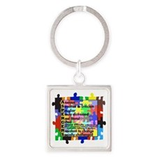 asd traits fut no white Square Keychain